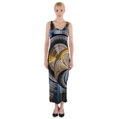 Fractal Tech Disc Background Fitted Maxi Dress