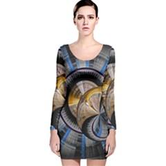 Fractal Tech Disc Background Long Sleeve Velvet Bodycon Dress