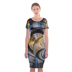 Fractal Tech Disc Background Classic Short Sleeve Midi Dress