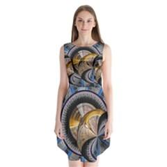 Fractal Tech Disc Background Sleeveless Chiffon Dress