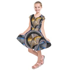 Fractal Tech Disc Background Kids  Short Sleeve Dress