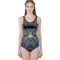 Fancy Fractal Pattern One Piece Swimsuit