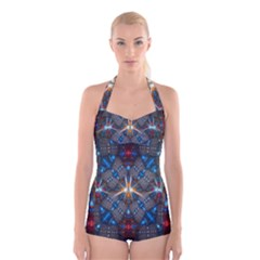 Fancy Fractal Pattern Boyleg Halter Swimsuit