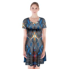 Fancy Fractal Pattern Short Sleeve V Neck Flare Dress
