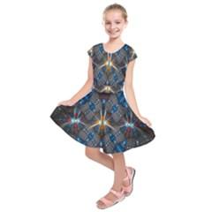 Fancy Fractal Pattern Kids  Short Sleeve Dress