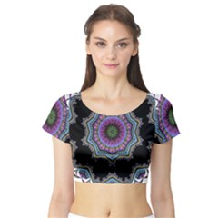 Fractal Lace Short Sleeve Crop Top (Tight Fit)