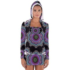 Fractal Lace Women s Long Sleeve Hooded T-shirt