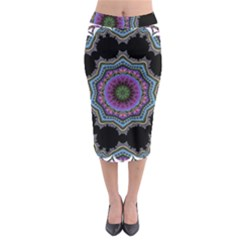 Fractal Lace Midi Pencil Skirt