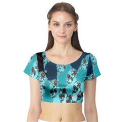 Decorative Fractal Background Short Sleeve Crop Top (tight Fit)