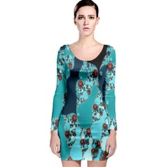 Decorative Fractal Background Long Sleeve Bodycon Dress