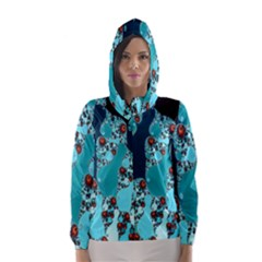 Decorative Fractal Background Hooded Wind Breaker (women)