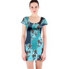 Decorative Fractal Background Short Sleeve Bodycon Dress