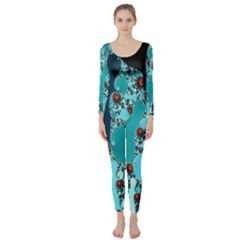 Decorative Fractal Background Long Sleeve Catsuit