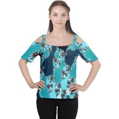 Decorative Fractal Background Women s Cutout Shoulder Tee
