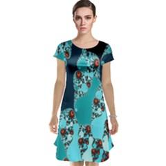 Decorative Fractal Background Cap Sleeve Nightdress