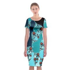Decorative Fractal Background Classic Short Sleeve Midi Dress