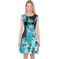 Decorative Fractal Background Capsleeve Midi Dress