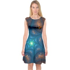 Fractal Star Capsleeve Midi Dress