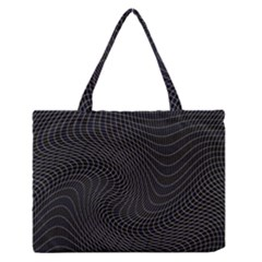 Distorted Net Pattern Medium Zipper Tote Bag