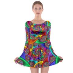 Color Spiral Long Sleeve Skater Dress
