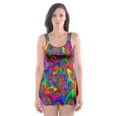 Color Spiral Skater Dress Swimsuit