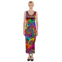 Color Spiral Fitted Maxi Dress