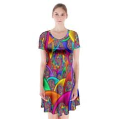 Color Spiral Short Sleeve V-neck Flare Dress