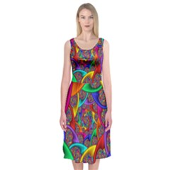 Color Spiral Midi Sleeveless Dress