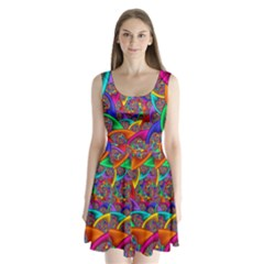 Color Spiral Split Back Mini Dress