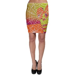 Orange Guy Spider Web Bodycon Skirt
