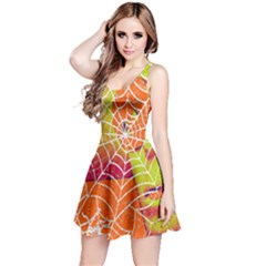 Orange Guy Spider Web Reversible Sleeveless Dress