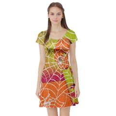 Orange Guy Spider Web Short Sleeve Skater Dress