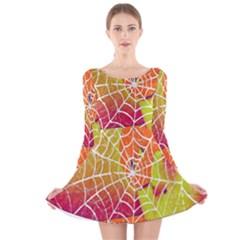 Orange Guy Spider Web Long Sleeve Velvet Skater Dress