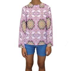 Floral Pattern Seamless Wallpaper Kids  Long Sleeve Swimwear