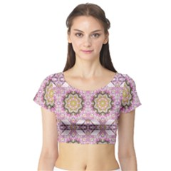 Floral Pattern Seamless Wallpaper Short Sleeve Crop Top (Tight Fit)