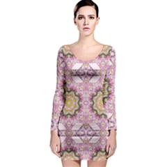 Floral Pattern Seamless Wallpaper Long Sleeve Bodycon Dress