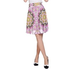 Floral Pattern Seamless Wallpaper A-Line Skirt