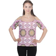 Floral Pattern Seamless Wallpaper Women s Cutout Shoulder Tee