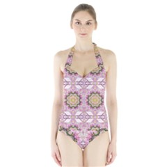 Floral Pattern Seamless Wallpaper Halter Swimsuit