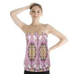Floral Pattern Seamless Wallpaper Strapless Top