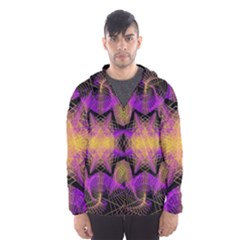 Pattern Design Geometric Decoration Hooded Wind Breaker (Men)