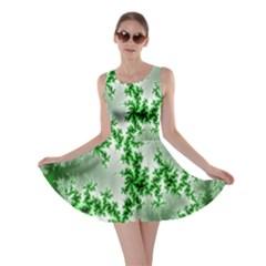 Green Fractal Background Skater Dress