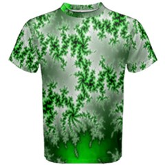 Green Fractal Background Men s Cotton Tee