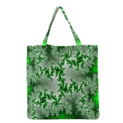 Green Fractal Background Grocery Tote Bag