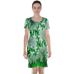 Green Fractal Background Short Sleeve Nightdress