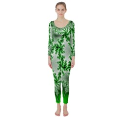 Green Fractal Background Long Sleeve Catsuit