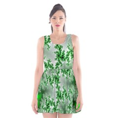 Green Fractal Background Scoop Neck Skater Dress