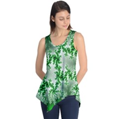 Green Fractal Background Sleeveless Tunic