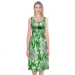 Green Fractal Background Midi Sleeveless Dress