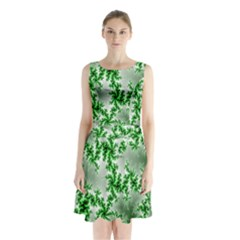 Green Fractal Background Sleeveless Chiffon Waist Tie Dress